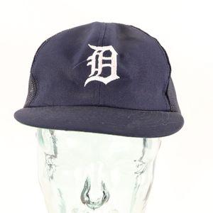 80s Detroit Tigers Mesh Snapback Baseball Hat Blue
